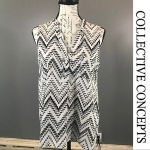 COLLECTIVE CONCEPTS Black & White Sleeveless Top M